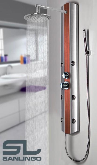 Duschpaneel Duschsäule Aluminium Massagedüsen Regendusche Silber Holzoptik Sanlingo – Bild 2