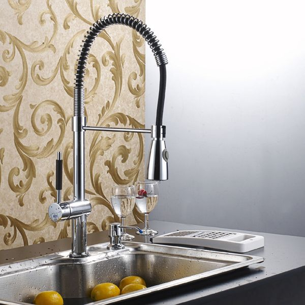 Chrome Design Kitchen Sink Single Lever Tap Spiral 2 Water-jets Sanlingo – Bild 1