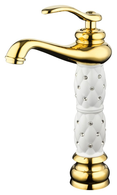 Extraordinary Bathroom Single Lever Water Tap Glass Crystal Gold White – Bild 1
