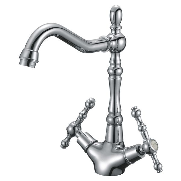 Extraordinary Kitchen Sink Two Handle Cross Head Water Tap Chrome Sanlingo Swivel Spout – Bild 1