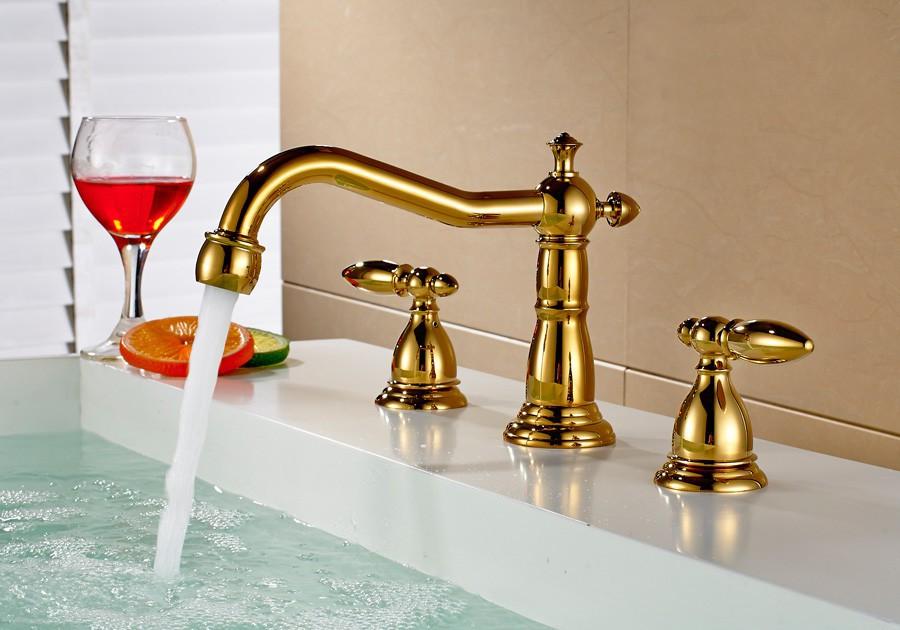 retro design salle de bains mitigeur robinet baignoire 3 trou lavabo or mitigeur lavabo r tro. Black Bedroom Furniture Sets. Home Design Ideas