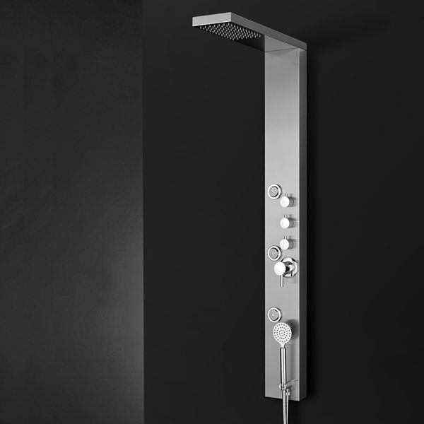 Stainless Steel Brushed Shower Panel Column Rain and Hand Shower Massage Sanlingo – Bild 2