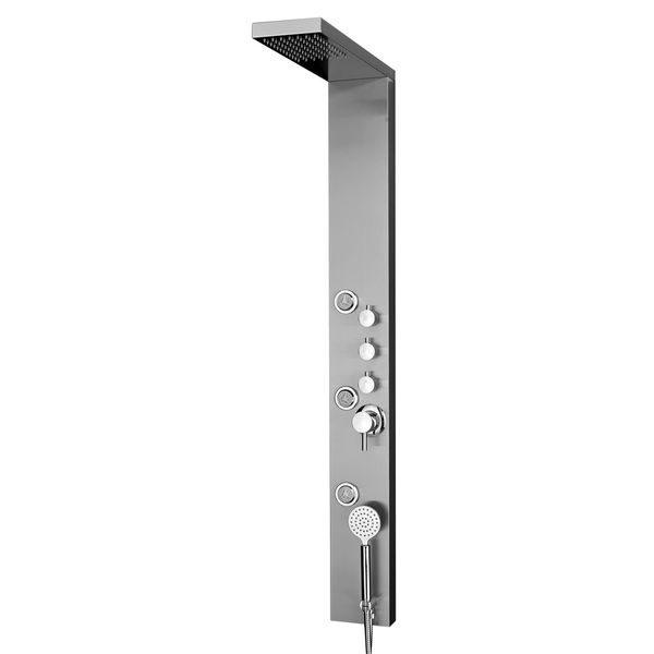 Stainless Steel Brushed Shower Panel Column Rain and Hand Shower Massage Sanlingo – Bild 1