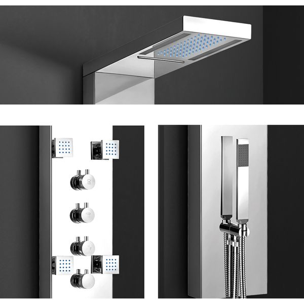 Stainless Steel High Gloss LED Shower Panel Column Rain Shower Waterfall and Hand Shower Massage Sanlingo – Bild 3