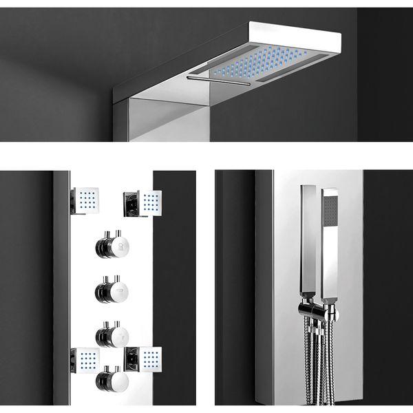 Edelstahl Hochglanz LED Duschsäule Duschpaneel Massage Wasserfall Regendusche Handbrause Sanlingo – Bild 3