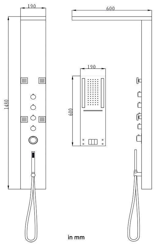 Acier Inox Lucido LED Colonna Doccia a Pioggia Cascata Doccetta Massaggio Sanlingo – Bild 4