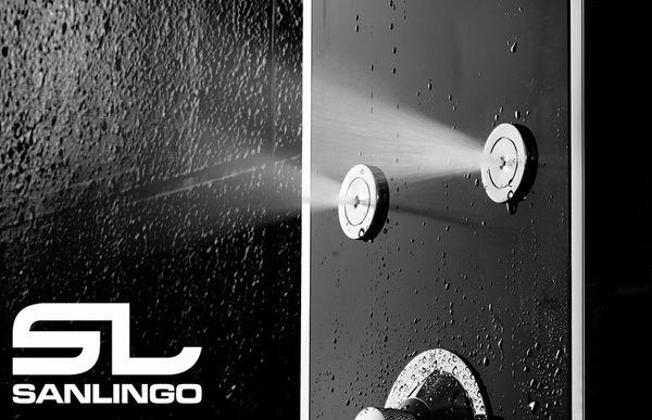 Hochglanz Edelstahl Duschpaneel LED Duschsäule Massage Regendusche Wasserfall Handbrause Seifenablage Handtuchhalter Schwarz Sanlingo – Bild 3
