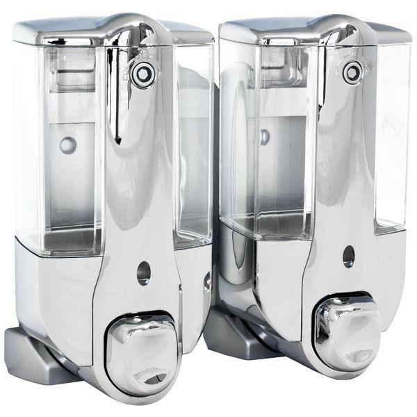 Zwei Seifenspender Shampoo Flüssigseife Seife Spender Chrom Wandmontage Sanlingo Duo – Bild 1