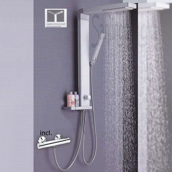 Shower Panel Aluminum Rain Soap Dish Thermostatic Tap Silver Sanlingo – Bild 1