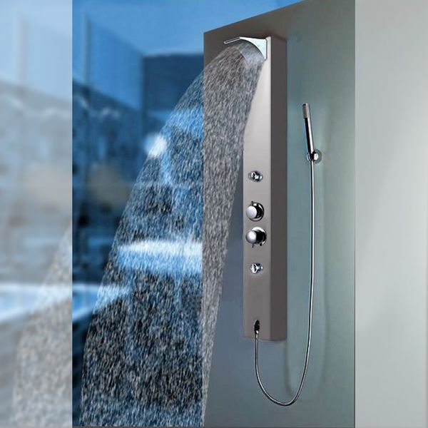Thermostat Aluminium Duschpaneel Duschsäule Massage Wasserfall Regenschauer Silber Sanlingo