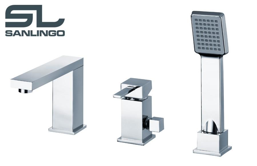 moderne design 3 trou mitigeur robinet baignoire douchette chrome sanlingo mitigeur baignoire design. Black Bedroom Furniture Sets. Home Design Ideas