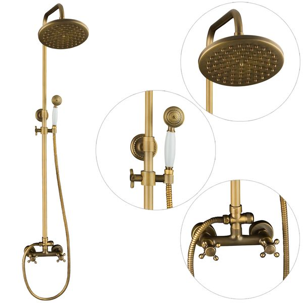 Complete Shower Set Rain Hand Shower Massive Antique Brass Sanlingo – Bild 1