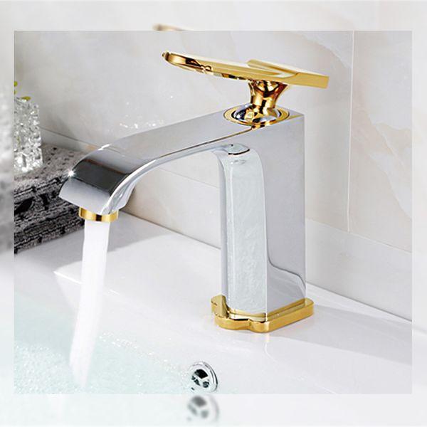 Moderne Bad Design Einhebel Wasserhahn Armatur Waschbecken Chrom Gold Sanlingo