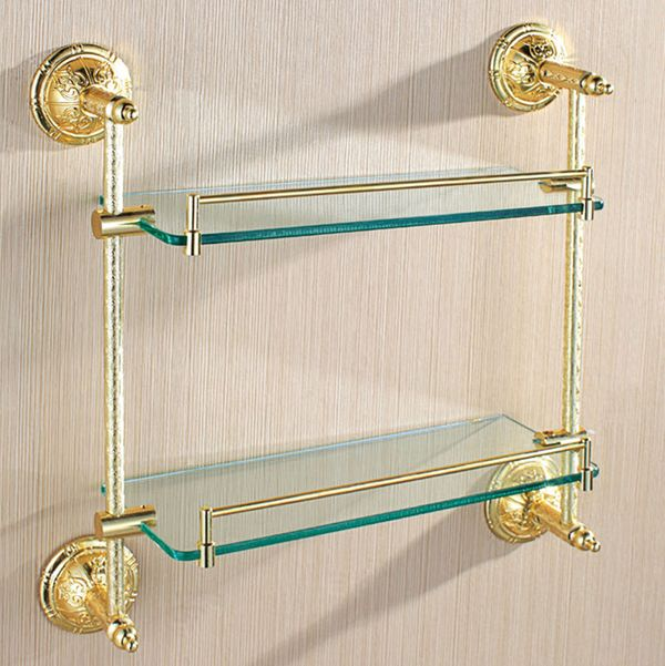 Double Clear Glass Wall Shelf Wall Mounting Bathroom Gold Sanlingo Series BS2 – Bild 1