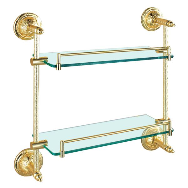 Double Clear Glass Wall Shelf Wall Mounting Bathroom Gold Sanlingo Series BS2 – Bild 2