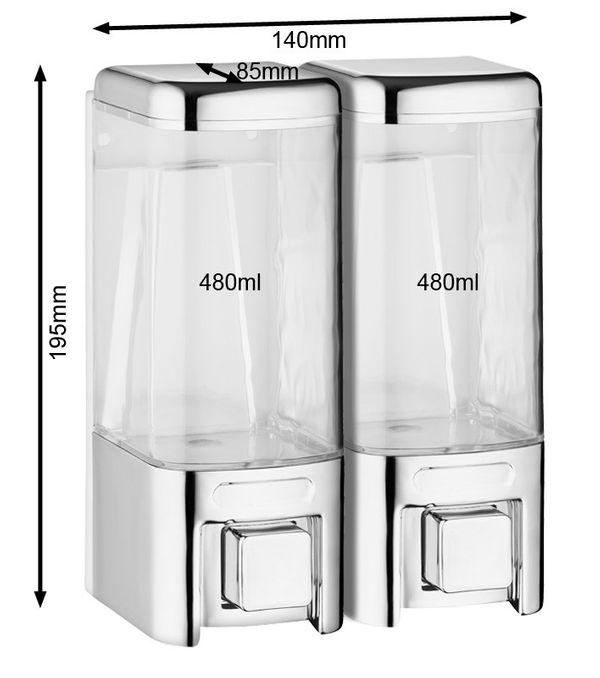 Doppio Dispenser di Sapone Bagno Doccia Cucina Montaggio a parete Cromo Sanlingo – Bild 2