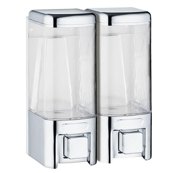 Doppio Dispenser di Sapone Bagno Doccia Cucina Montaggio a parete Cromo Sanlingo – Bild 1