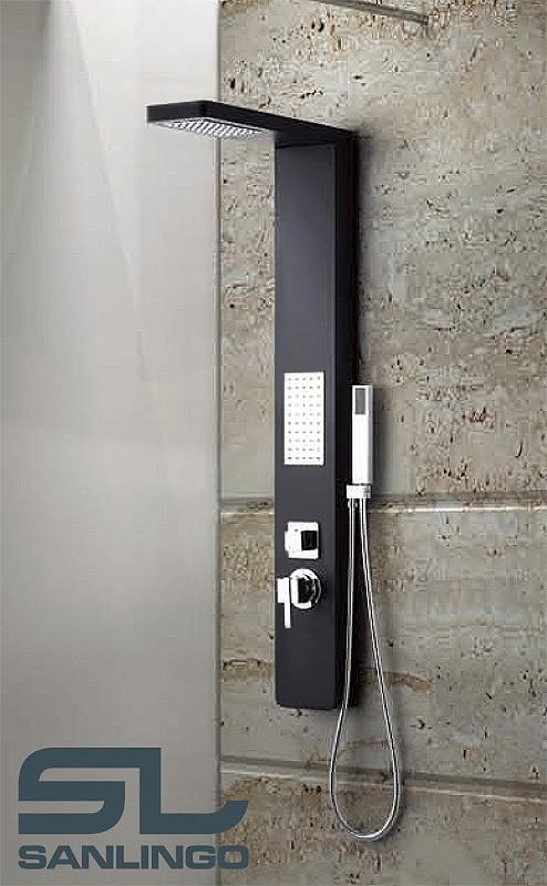 Aluminium Shower Panel Tower Rain Shower Body Massage Jets Black Sanlingo