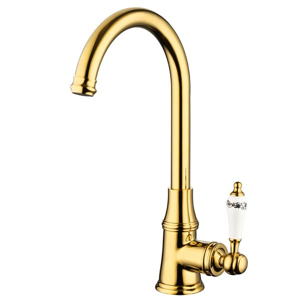 Extraordinary Kitchen Sink Single Lever Tap Ceramic Handle Grip Rotatable Gold Sanlingo – Bild 1