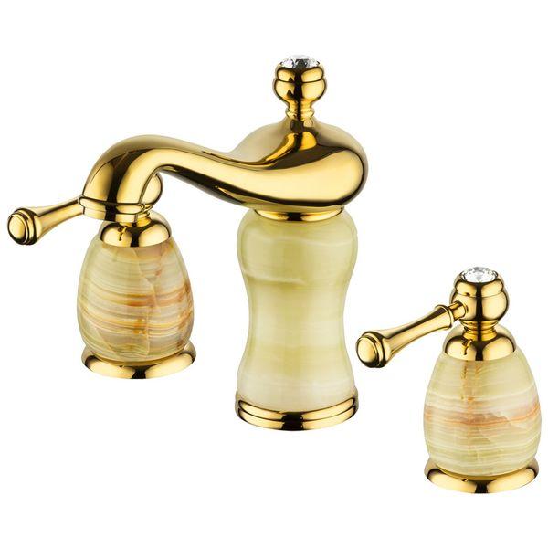 Retro 3Loch Armatur Waschbecken Waschtisch Gold Marmor Glasskristall