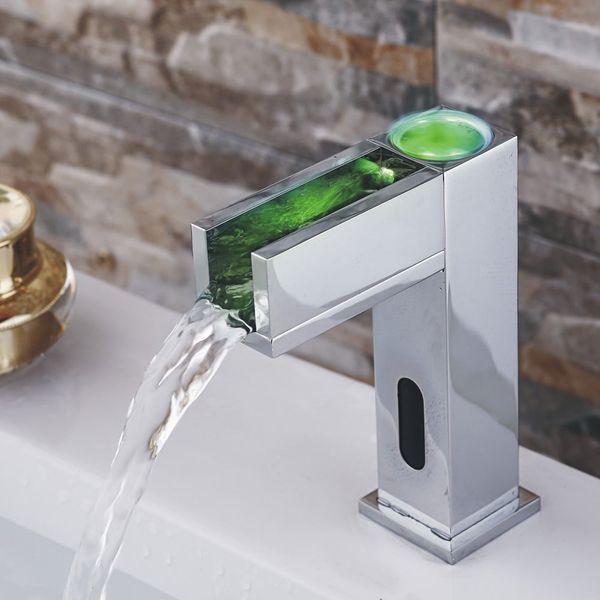 IR Infrarot LED Armatur Wasserhahn Automatik Waschbecken Chrom Kalt- und Warmwasser – Bild 3