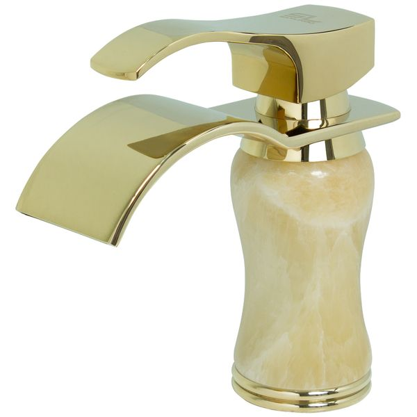 Bath Bathroom Washbasin Single Lever Marble Water Tap Gold Sanlingo – Bild 3