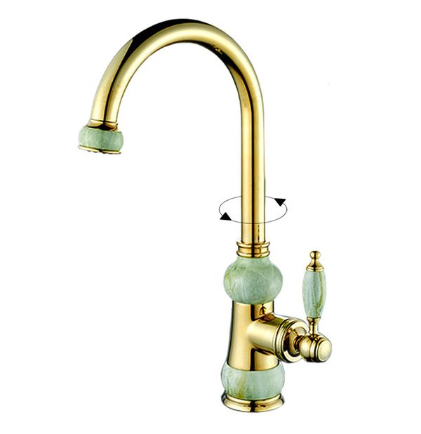 Kitchen Sink Single Lever Water Tap Gold Marble Rotatable Sanlingo – Bild 1