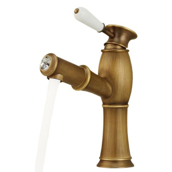 Extraordinary Bath Wash Basin Water Tap Ceramic Handle Grip Glass Crystal Antique Brass Pull-out Hose Sanlingo – Bild 2