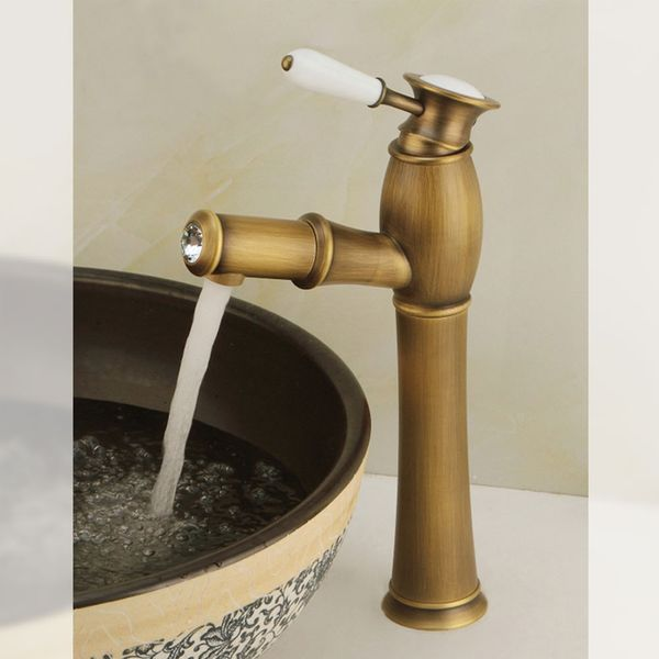 Extraordinary Bath Wash Basin Water Tap Ceramic Handle Grip Glass Crystal Antique Brass Pull-out Hose Sanlingo – Bild 1