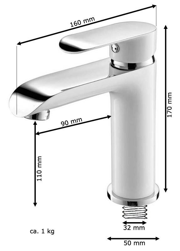 Bad Waschbecken Einhebelmischer Armatur Wasserhahn Weiß Weiss Chrom Sanlingo – Bild 2