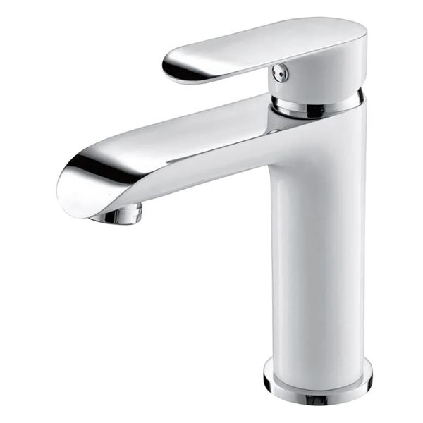 Modern Design Bathroom Water Tap Single Lever Wash Basin White Chrome Sanlingo – Bild 1