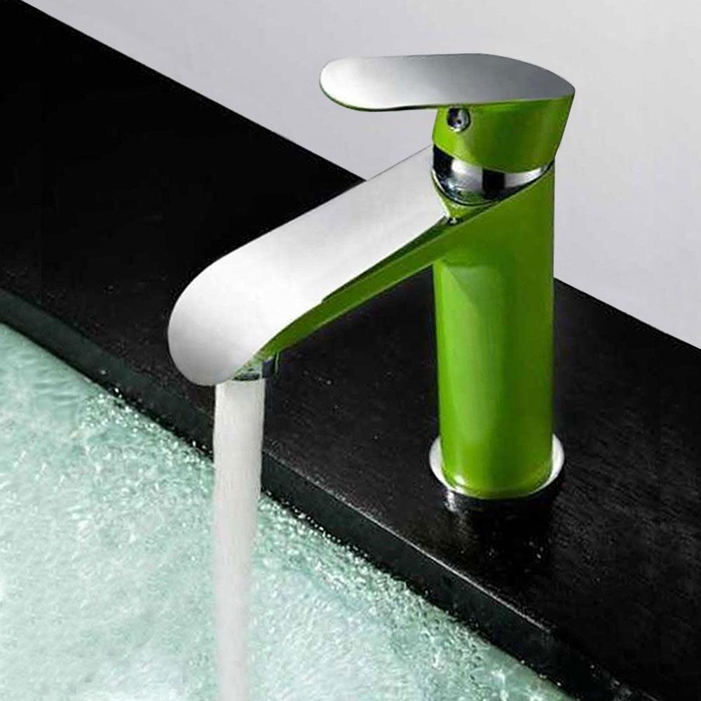 Modern Design Einhebelmischer Armatur Bad Waschbecken Grün Chrom Sanlingo