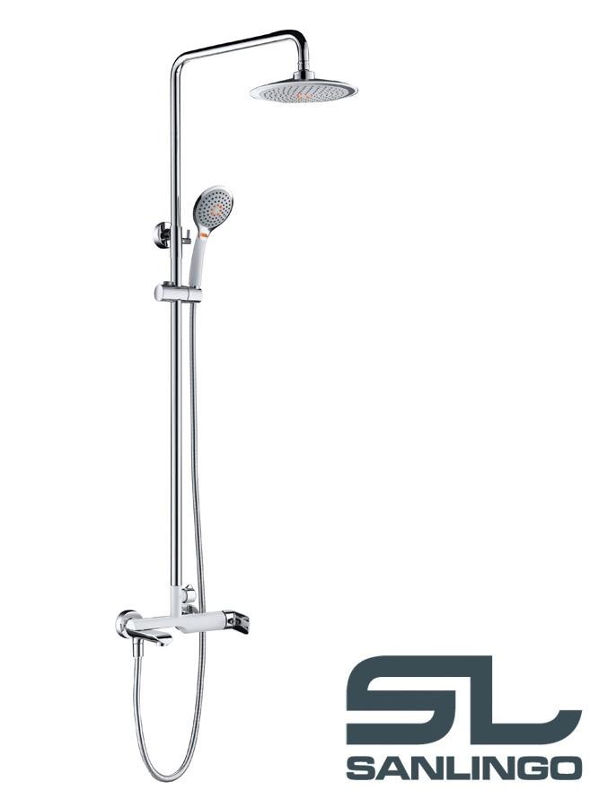 Duschset Duschsystem Komplett Dusche Badewanne Armatur Chrom Weiß ... | {Armaturen badewanne 41}