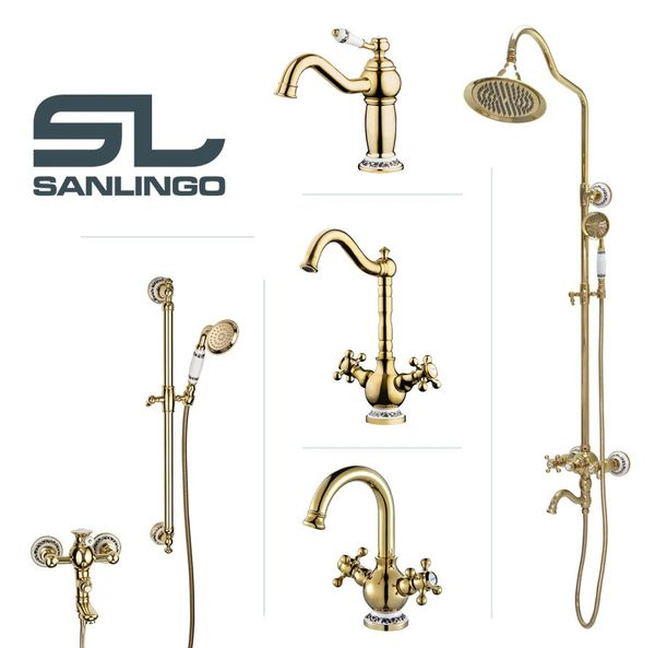 Retro Bath Bathtub Shower Bar Set Bath Filler Tap Mixer Hand Shower Gold Ceramic BELE Series Sanlingo – Bild 5