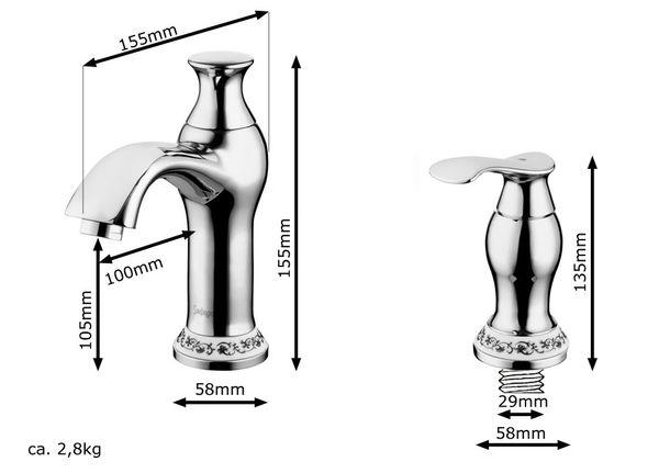 Retro Bath Two-handle Tap 3hole Wash Basin Bathtub Chrome Sanlingo IRMA Series – Bild 2