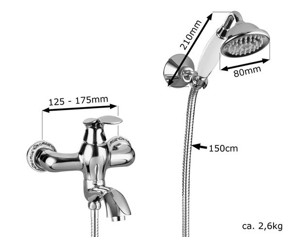 Retro Bath Bathtub Water tap Single Lever Hand Shower Hose Btah Filler Chrome Sanlingo IRMA Series – Bild 2