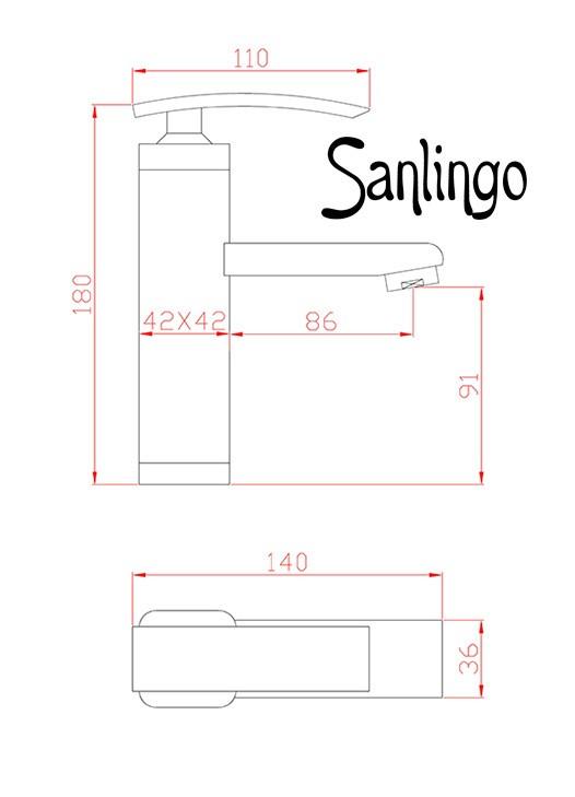 LED Modern Design Bath Single Lever Tap with LED Mixer Chrome Sanlingo – Bild 4