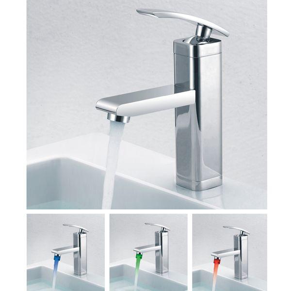 LED Modern Design Bath Single Lever Tap with LED Mixer Chrome Sanlingo – Bild 2