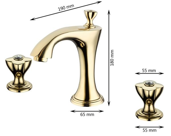 Sanlingo 3 Hole Nostalgia Retro Wash Basin Water Tap Bath Tub Gold Glass Crystal – Bild 3