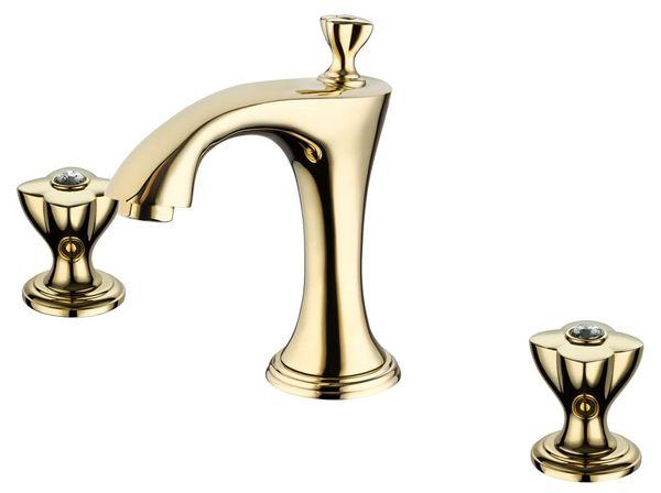 Sanlingo 3 Hole Nostalgia Retro Wash Basin Water Tap Bath Tub Gold Glass Crystal – Bild 1
