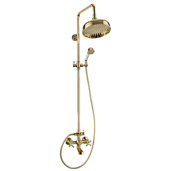Nostalgie Retro Duschset Dusche Badewanne Armatur Sanlingo Gold Komplett Regenschauer Handbrause Stange Wannenauslauf Serie RIKE
