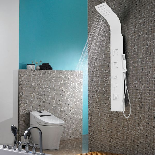 Aluminium Shower Column Panel Rain Shower Waterfall Massage White Sanlingo – Bild 1
