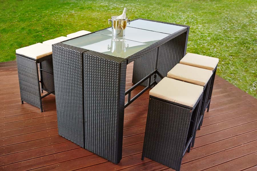 poly rattan sitzgruppe bar barhocker barm bel barset tisch theke poolbar 6 hocker garten terasse. Black Bedroom Furniture Sets. Home Design Ideas