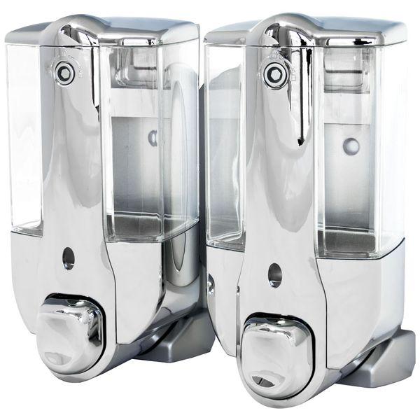 Doppio Dispenser di Sapone Liquido Porta Sapone Doccia Bagno Cucina Muro Cromo Sanlingo – Bild 1