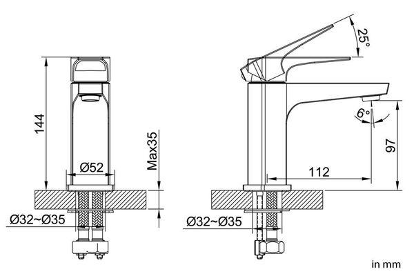 Sanlingo VOZA Series Design Bath Bathroom Washbasin Washstand Single Lever Water Tap Chrome – Bild 3