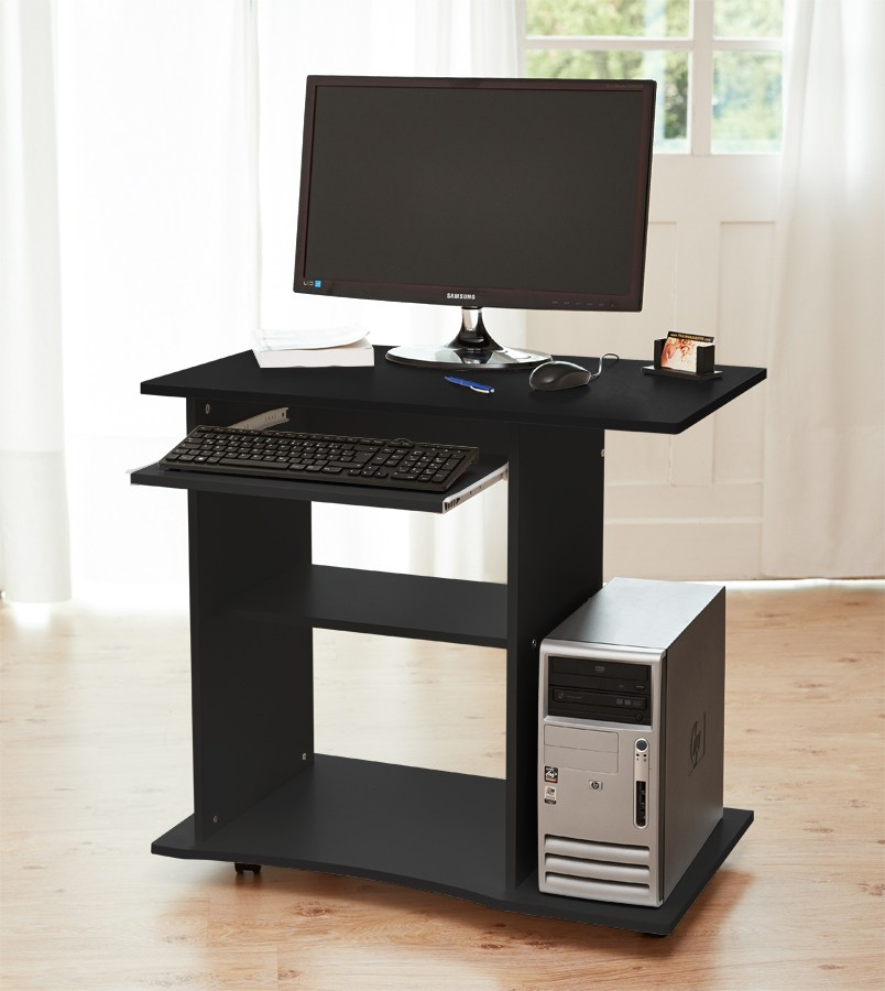 computertisch pc schreibtisch b rotisch in schwarz wei buche rollen kingpower ebay. Black Bedroom Furniture Sets. Home Design Ideas