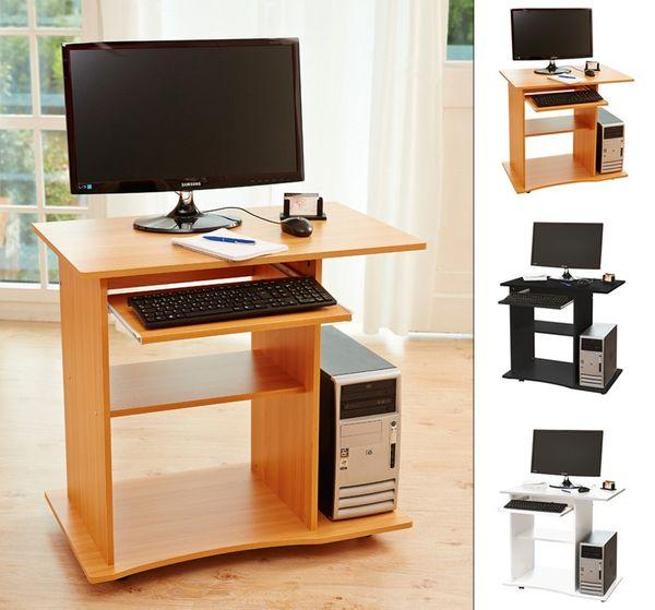 Computertisch PC Schreibtisch Bürotisch in Schwarz oder Weiß oder Buche mit Rollen Kingpower