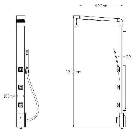 Shower Panel in Aluminium, Jets with anti-lime scale from Sanlingo – Bild 3