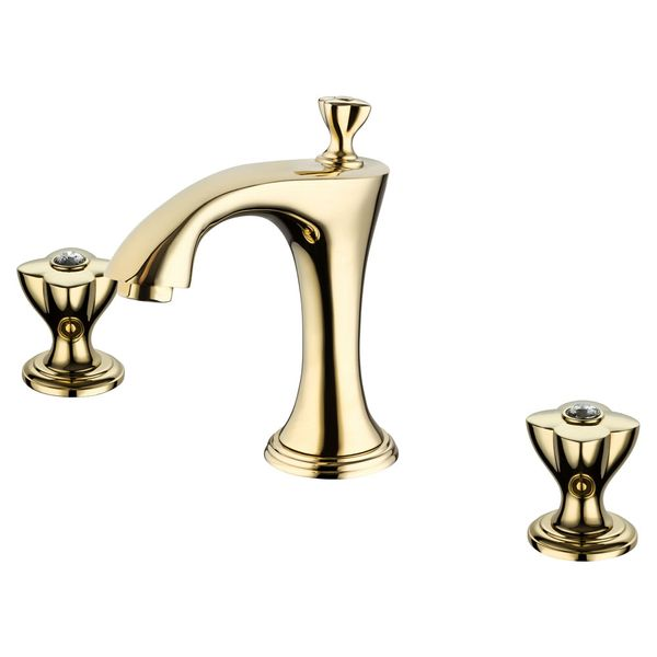 3 Hole Nostalgia Sanlingo Retro Wash Basin Water Tap Bath Tub Gold Glass Crystal – Bild 2