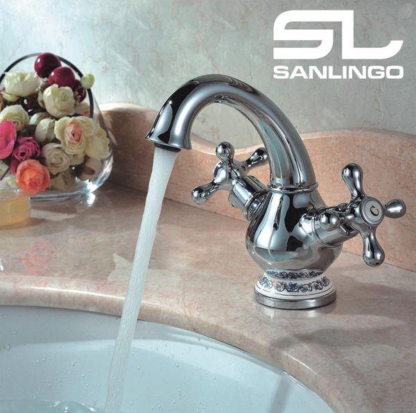 Waschbecken Zweigriff Retro Bad Kreuzgriff Armatur Wasserhahn Chrom Sanlingo Serie CALA – Bild 1